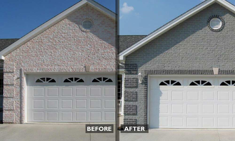 Split face concrete color correction
