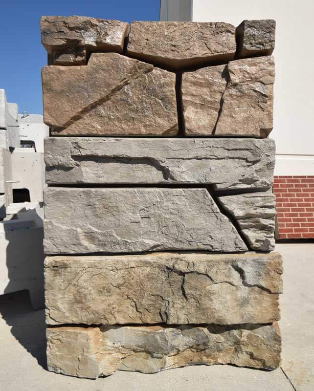 Three examples of plain concrete blocks transformed to mimic the actual look of natural stone. Nearly infinite color combinations can be custom created just for your project!