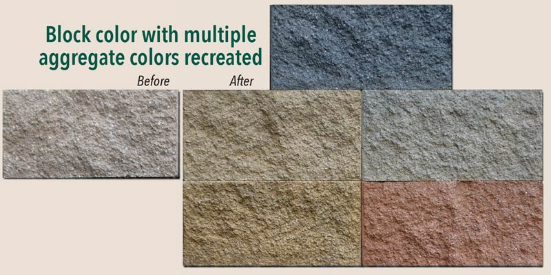 Samples of actual stained Split Face Block with multiple aggregate colors recreated