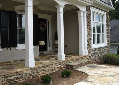 Before - The range of stone color is washed out in comparison to surrounding stone