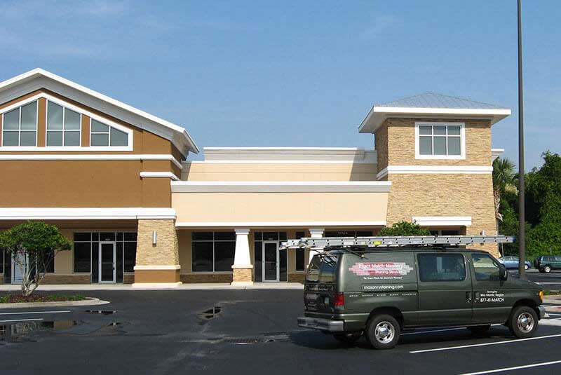 Retail Plaza Stone Veneer Color Correction Project in Florida