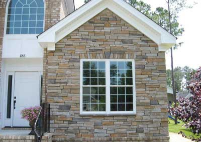 Correcting Orange Stone to a Cooler, Neutral Gray Range to Blend with Brick