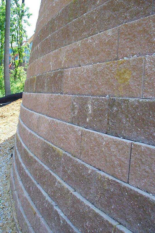 Before: Concrete Block Retaining Wall has color issues caused by a change in color of raw materials