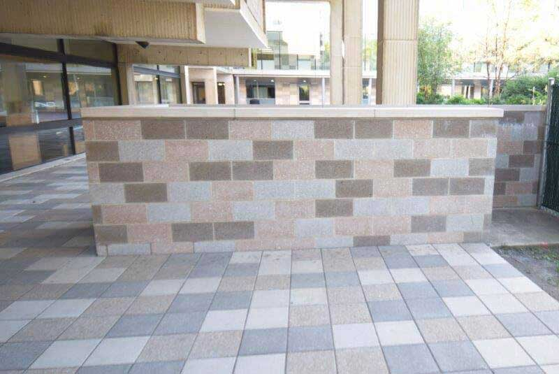 Before- light gray block creates a checker board effect the owners wish to change.