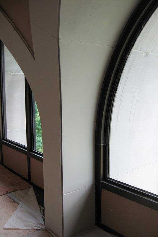 After- Cast Stone is restored to original color, matching surrounding, undamaged areas flawlessly.