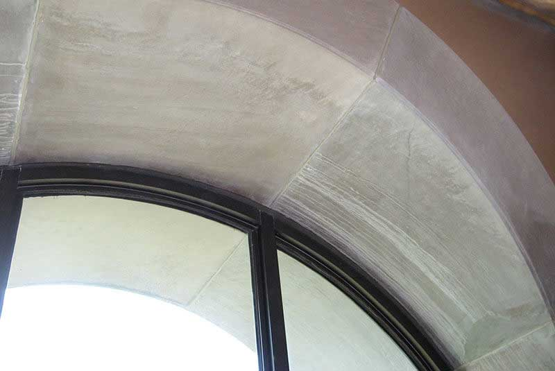 Before- Water damaged Cast Stone is in need of restoration that only Exact Match can provide.