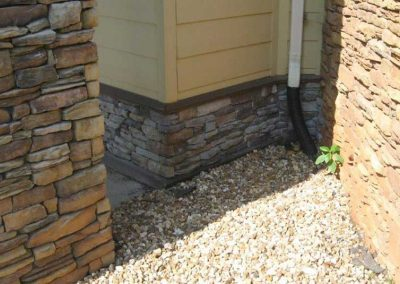 During- stone is corrected by Exact Match (left) and uncorrected (center) from pressure wash damage and (right) clay soil damage is still visible