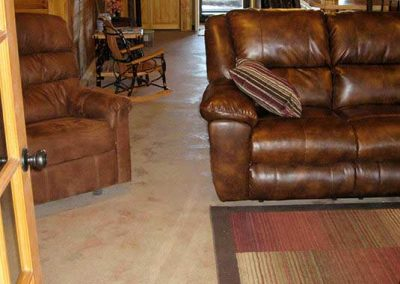 Before- concrete floor needs to be updated to a custom, rich, dark tobacco brown color.