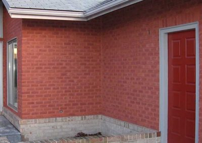 After-mortar color is stained to match the correct shade of red .
