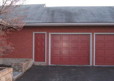 After-mortar color is stained to match the correct shade of red and the mismatch disappears flawlessly .