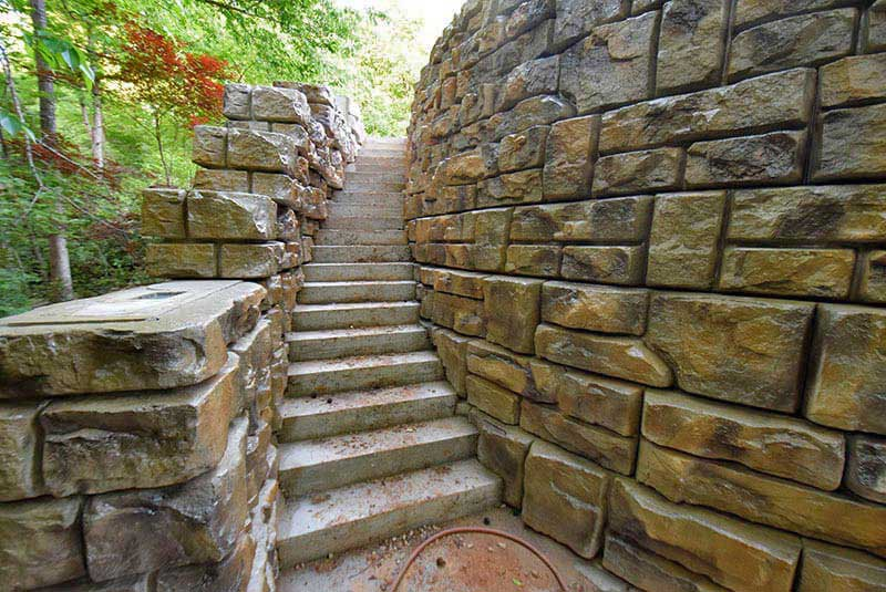Custom Stone Color Retaining Wall Project