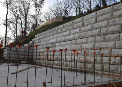 Before Custom Color for Stone-Strong Retaining Wall