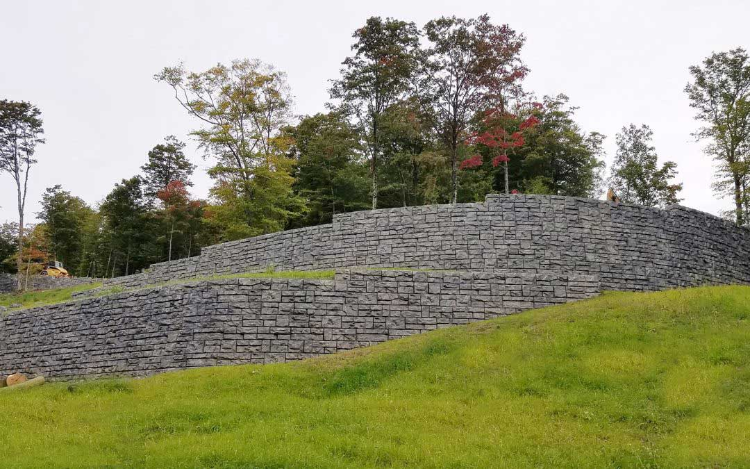 Redi-Rock On Mount Mansfield is Stained to Match Natural Stone with our Exclusive Mansfield Summit Gray.